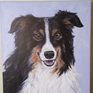 Painting of a Border Collie Dog